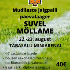 Registreerimine Mudilaste jalgpalli päevalaagrisse 22.-23.08 on veel avatud
