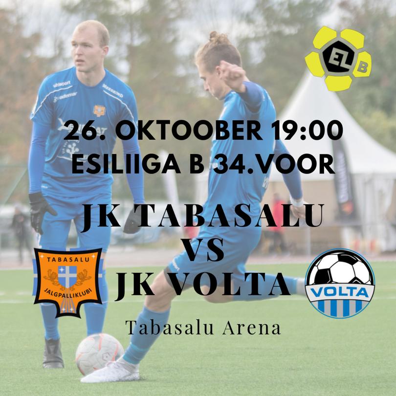 Homme 26.10 meie esindusmeeskond Tabasalu Arenal JK Volta vastu