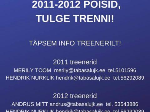 Ootame trenni poisse sünniaastaga 2011 ja 2012