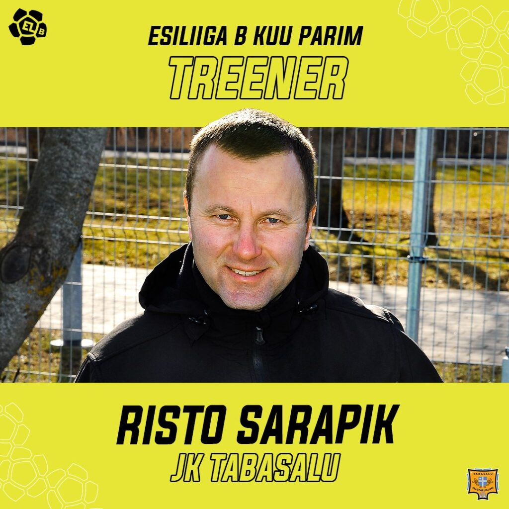 Esiliiga B oktoobrikuu parim treener on Risto Sarapik